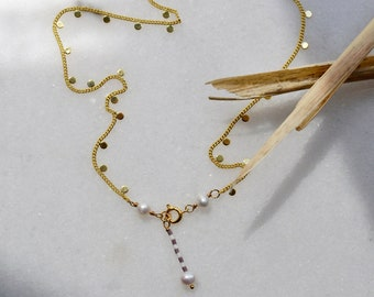Dot Necklace with Sweetwater Pearl and Seed Bead Charm, Gold Plated Circle Chain, Minimalist Layering Jewelry