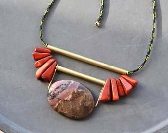 Rhodochrosite necklace, Long rope necklace with pendant made of jasper and brass elements