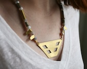 One Of A Kind Statement Necklace with Geometric Brass Plate, White and Grey Natural Stone Necklace, Gemstone Necklace