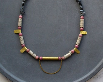 Rhodochrosite and agate bead necklace with hammered brass arc, mixed media boho necklace
