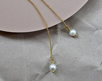 Freshwater Pearl Threader Earrings, Dainty Pearl Earring, Minimalistic Jewelry