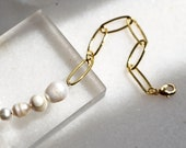 Paperclip Bracelet with Sweetwater Pearls, Gold Plated Link Chain Bracelet, Stacking Bracelet