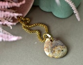 Purple Jade Stone Necklace, Natural Stone Jewelry, Gold Plated Snake Chain