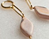 Pink Agate Earrings, Gold Plated Brass Huggies with Natural Stone, Creole Dangle Earrings