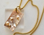 Mother of Pearl Necklace, Long Gold Plated Brass Necklace with Seashell Pendant, Keshi Shell and Snake Chain