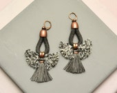 Dark Grey Tassel Earrings, Rope Earrings, Hippie Earrings, Bohemian Chandeliers, Statement Earrings, Folk Earrings, Anthracite Earrings