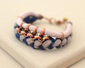 Blue and Sable Fabric Bracelet, Tribal Bracelet, Boho Jewelry, Hippie Bracelet, Woven Jersey and Rope Bracelet