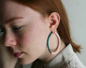 Extra Large Hoop Earrings with Blush Pink Polymer Clay Discs and Turquoise Seed Beads, Oversize Creoles