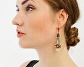Rose Quartz Earrings, Gemstone Earrings, Gray Earrings, Beaded Earrings, Drop Earrings, Dangle Earrings, Gift for Her, Tassel Earrings