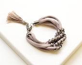 Mauve Boho Bracelet, Stacking Bracelet, Fabric Jewelry, Tassle Bracelet, Tassel Accessory, Statement Bracelet, Textile Bracelet