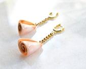 OOAK Gold Plated Hoop Earrings with Repurposed Pink Seashell, Nautical Creole Earrings, Maritime Jewelry, Modern Boho