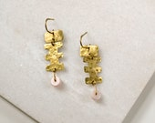 OOAK Geometric Statement Earrings with Pink Opal, Hammered Brass Chandelier, One of a kind