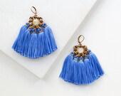 Large Cobalt Blue Boho Chandelier Earrings, Bright Blue Tassel Earrings with Rose Quartz Bead