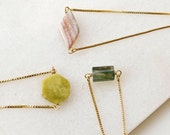 Gold plated natural stone bracelet, Minimalist chain bracelet with peridot or agate, Snake chain bracelet with green stone