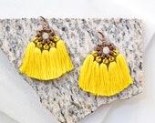 Yellow Tassel Earrings, Sunflower Fan Earrings, Boho Fringe Earrings, Chunky Hippie Earrings, Large Earrings, Shoulder Duster Earrings