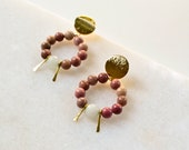 Statement Earrings with Aventurine, Jade and Keshi Pearl, Gold Plated Brass, Frontal Hoop Earring