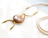 Long Agate Necklace with Good Luck Charm, OOAK Natural Stone and Rope Necklace, Boho Jewelry with Gemstone