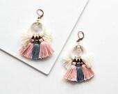 Pastel Tassel Earrings, Large Earrings, Fringe Earrings, Bohemian Duster Earrings, Hippie Earrings, Statement Earrings, Boho Earrings