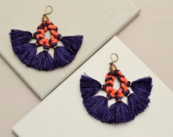 Tassel Earrings, Statement Earrings, Large Earrings, Boho Earrings, Hippie Earrings, Fabric Earrings, Yarn Earrings