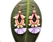Tassel Earrings, Clip On Earrings, Tribal Earrings, Fan Earrings, Raffia Chandeliers, Colorful Earrings, Festival Jewelry, Hippie Wedding