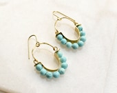 Beaded Brass Earrings with Turquoise, Abstract Modern Jewelry, Hammered Brass Hoop Earrings with Gemstone Beads