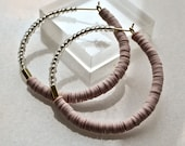 Blush Pink Oversize Creoles, Extra Large Hoop Earrings with Polymer Clay Discs and Silvery Seed Beads