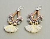 Fan Earrings, Raffia Chandeliers, Bohemian Earrings, Tassel Earrings, Fabric Earrings, Wedding Jewelry, Hippie Wedding, Pastel Earrings