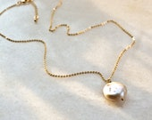 Short 18k gold plated necklace with Coin Pearl, Flat Keshi Sweetwater Pearl on gold plated Brass Necklace