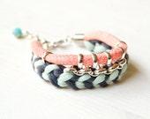Friendship Bracelet, Woven Statement Bracelet, Pink Rope Bracelet, Fabric Jewelry, Boho Bridesmaid Bracelet, Tribal Bracelet