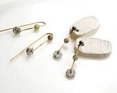 Long Earrings, Marble Disc Earrings, Abstract Earrings, White Dot Earrings, Brass Earrings, Minimalist Jewelry, Howlithe Earrings
