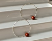 Dainty Creole Hoop Earrings with White Turquoise, Black and White Natural Stone Hoops, Minimalistic Silver Plated Brass Earrings