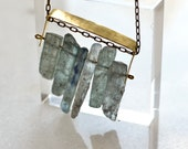 Cyanite Necklace, Short Brass Necklace with Disthene, Blue Crystal Necklace, Natural Stone Jewelry