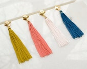 Long Tassel Earrings, Boho Vicose Fringe on Gold Plated Brass Posts with, Hippie Bride Jewelry, Modern Abstract