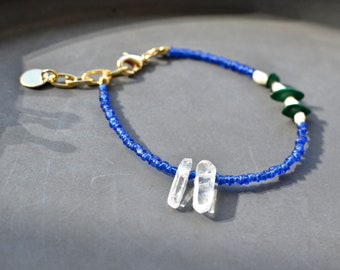 Rock crystal bracelet with recycled glass, malachite and freshwater pearls, colorblocking jewelry