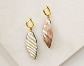 Gold Plated Hoop Earrings with Mother Of Pearl, Creole Earrings with Freshwater Shell Beads, Golden Hoops, Boho Jewelry