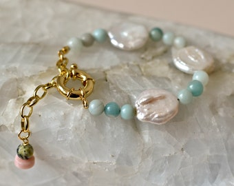 Statement Bracelet with Keshi Coin Pearl and Amazonite, Pastel 90ies Bracelet