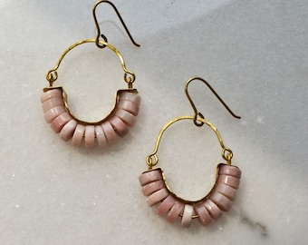 Pink Opal Hoop Earrings, Natural Stone Dangle Earrings, Hammered Bras Chandelier, Pink Jewelry