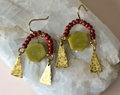 Statement Earrings with Hammered Brass, Repurposed Beads and Large Peridot, Natural Stone Chandelier