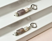 Natural Stone and Sweetwater Pearl Earrings with Platinum Plated Creoles, Beaded Gemstone Earrings with silver Hoops