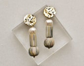 Grey Polymer Clay Earrings with Sweetwater Pearl and Gold Plated Brass Posts, Marble Look Beads