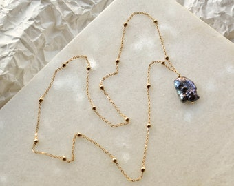 Satellite Necklace with Grey Keshi Pearl, Rosegold Brass Chain with Sweetwater Pearl, Ball Chain