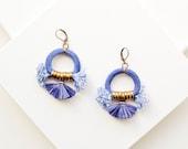 Blue Tassel Earrings, Royal Blue Chandeliers, Fringe Earrings, Fan Earrings, Boho Earrings, Abstract Earrings, Raffia Earrings, Rope Earring