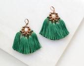 Dark Green Tassel Earrings with Rose Quartz Bead, Large Boho Chandelier Earrings