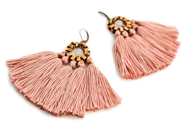 Pink Tassel Earrings Boho Fan Earrings Old Rose Fringe image 1