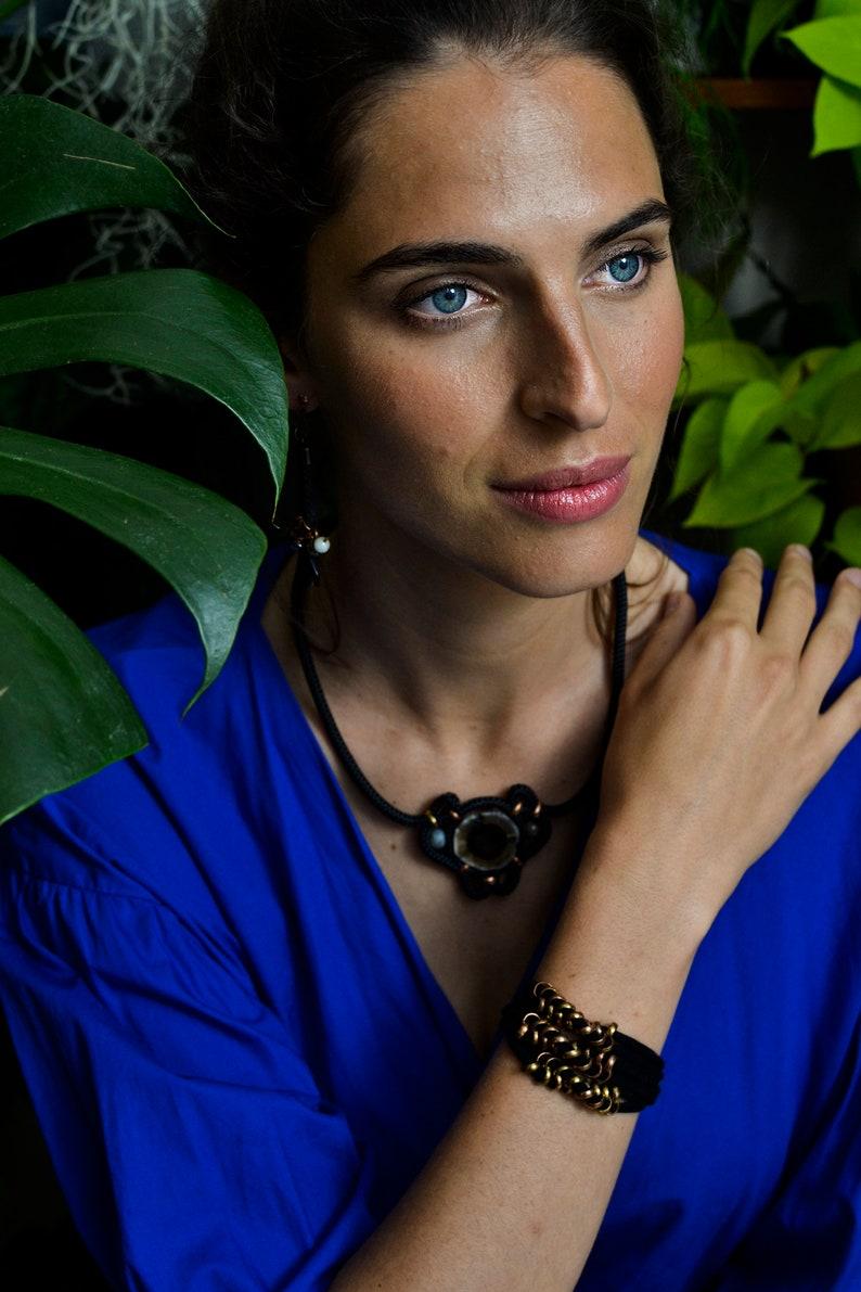 Fabric Bracelet Friendship Bracelet Black Bracelet Layer Bracelet Hippie Jewelry Woven Bracelet Everyday Bracelet Tassel Bracelet
