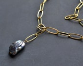 Paperclip Necklace with Large Gray Keshi Pearl, Link Necklace with Freshwater Pearl, Lariat Chain