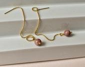 Rhodochrosite Threader Earrings, Pink Natural Stone Chain Earrings, Gemstone Jewelry