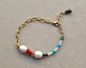 Pearls Bracelet made of reused coral and turquoise pearls, With fresh water pearls and shell