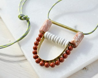 Long rope necklace with abstract pendant with natural stones, bib necklace, jasper pendant