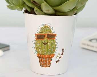cactus plant pot - personalised gardening gift for him! Add any name, text or don't be a prick. Choice of seeds, ideal for succulents.